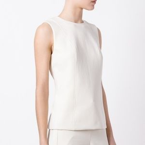 Theory Off White Fitted Shell Sleeveless Top
